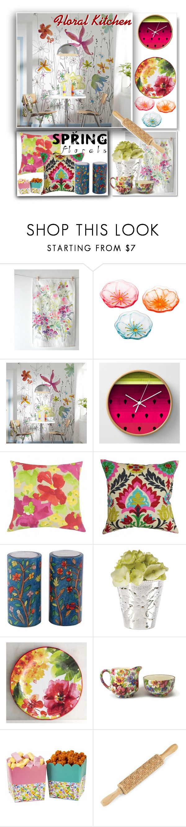 """""""Floral Kitchen"""" by fiery555 ❤ liked on Polyvore featuring interior, interiors, interior design, home, home decor, interior decorating, Cypress Home, NOVICA, Pier 1 Imports and Talking Tables"""