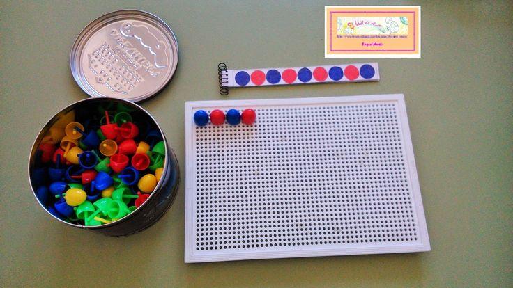 Material adaptado hacer series con pinchitos Material necesario: plantilla hecha en word, ecuadernador, rotulador o gomet, tijeras...