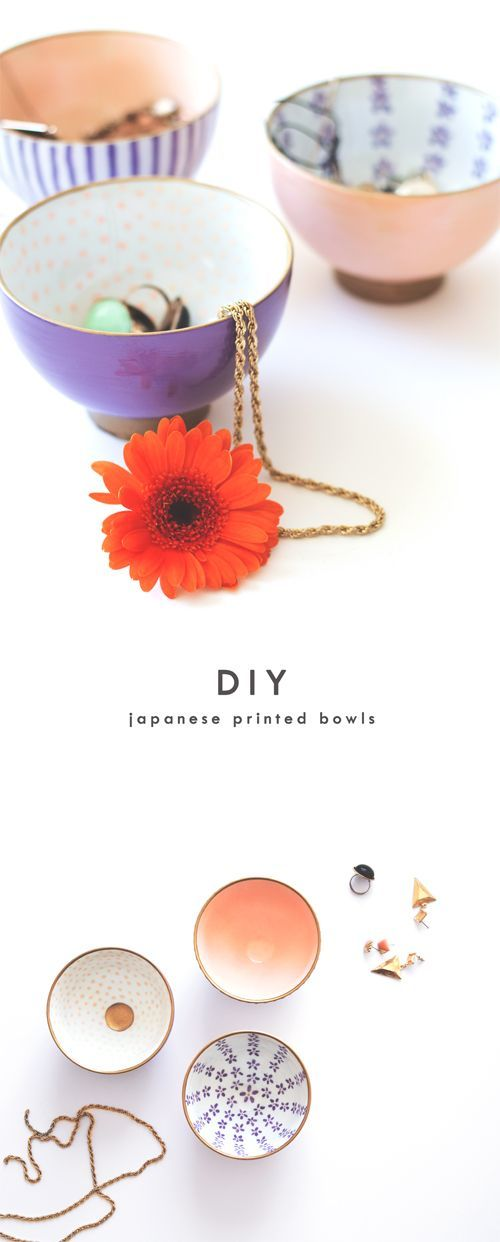 Painted ceramic bowls #tutorial from The Lovely Drawer