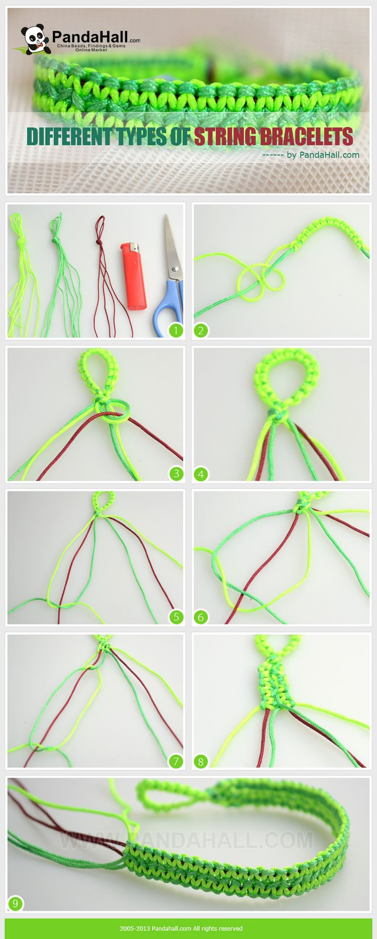 Different types of string bracelets. These instructions will lead you how to make cool hemp bracelets step-by-step. Via learning this tutorial, you will find another way making marvelous string bracelet.
