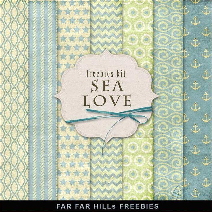 New Freebies Backgrounds Sea Love Kit by Far Far Hill