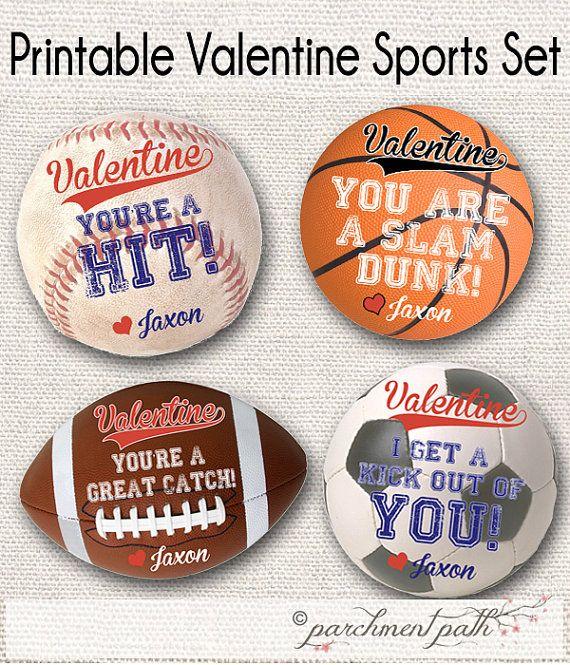 Printable Valentines for Boys - Sports Valentine Stickers/Tags Soccer, Basketball, Baseball, Football Valentines