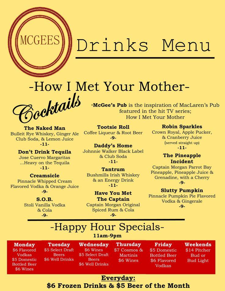 Drink Menus  McgeeS Pub Nyc  New York    Drink Menu
