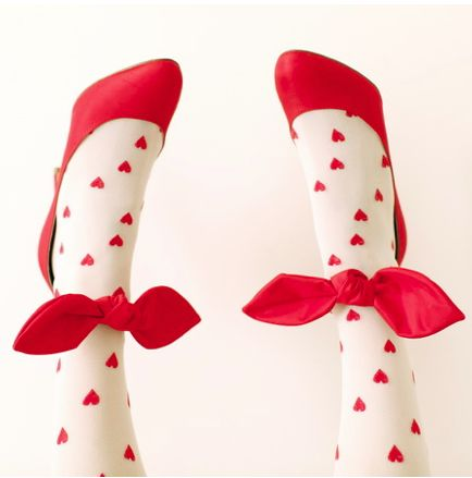 hearts + bows--Do they even make girls tights with hearts on them anymore? I remember loving them!