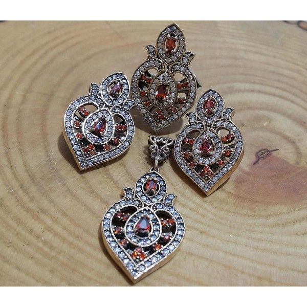Authentic Sterling Silver Garnet Set #silver #set #ottoman #wholesale #women #fashion #turkish #handmade #jewelry #jewellers #jewellery #jewel #ruby #granat #emerald #sapphire #gemstone #new #antique #ring #earring #necklace
