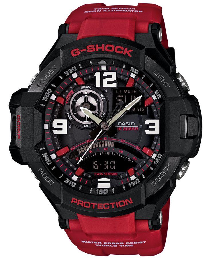 G-Shock Men's Analog-Digital Red Resin Strap Watch 51x52mm GA1000-4B - Watches - Jewelry & Watches - Macy's