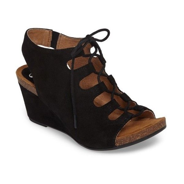 Women's Sofft Maize Wedge Sandal (€97) ❤ liked on Polyvore featuring shoes, sandals, black suede, wedge heel sandals, black wedge shoes, lace up wedge sandals, black lace up sandals and peep toe wedge sandals