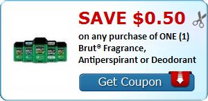 $0.50 off ONE Brut Fragrance, Antiperspirant or Deodorant ($.50 at the Dollar Tree!)