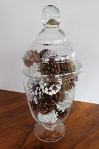 Collect your pinecones now!   They are plentiful and free!!  My pinecone filled apothecary jar. Painted pinecones!