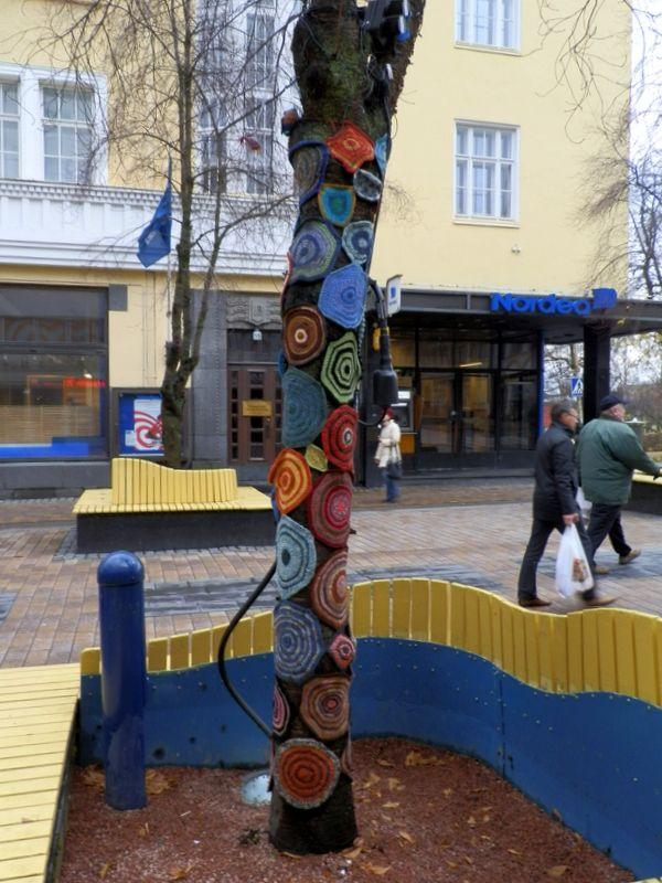 Pedestrial street, in front of  the Craft Museum of Finland, Jyväskylä, October, 2013