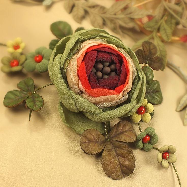 Купить Фея Дикой Вишни. Брошь с цветами из ткани и натуральной кожи - разноцветный, бордовый, красный