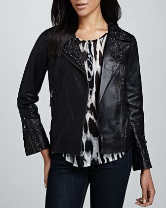 $349, Black Studded Leather Biker Jacket: Studded Leather Motorcycle Jacket by Graham