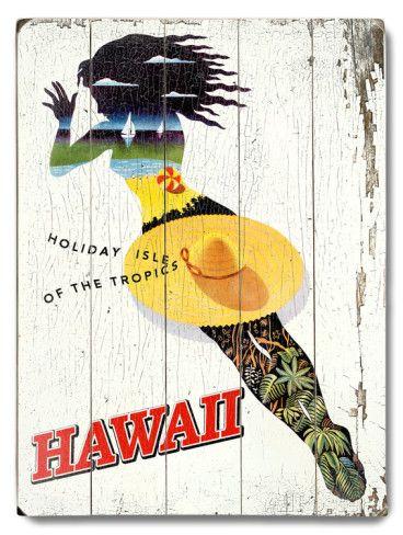 オールポスターズの「ハワイ」木製看板