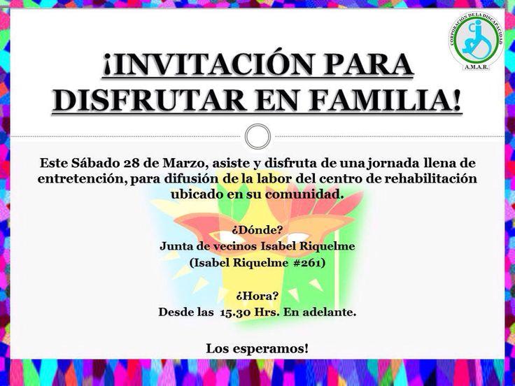 Recuerda Sábado 28 de Marzo, centro de Rehabilitación AMAR, santa Isabel 261. San Joaquín.