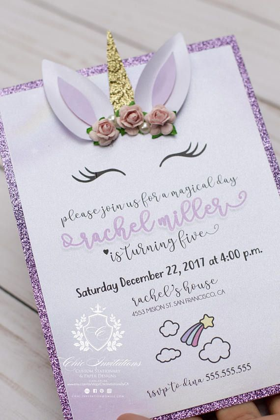 Tooo Cute Unicorn Chic Invitation They Are Handmade With The Best