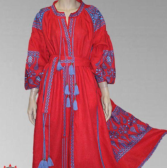 Embroidered boho maxi dress Ukrainian Folk Boho Dress Ethnic Folklore Vita Kin Style Linen dress tunic vyshyvanka (1133)