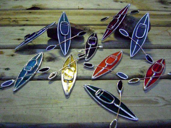 Kayak Stained Glass Suncatcher Christmas Boats Canoe Water