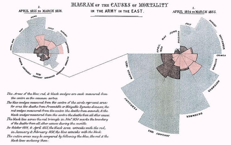 Polar Area Diagram - mortality in hospital in Crimea War