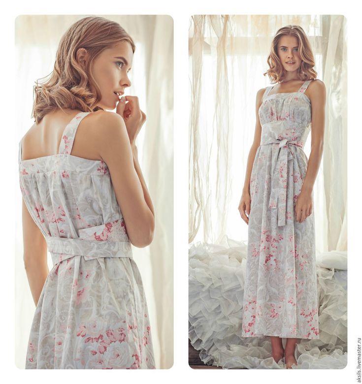 """Купить Ночное платье для дома """"Возрождение"""" - белый, ночная сорочка, халатик, хлопок, девушка"""