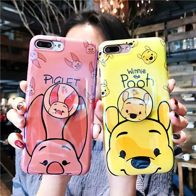 bdfce61209b Telescopic Bracket Winnie the Pooh Piglet Case Cover For iPhone X 6s 7 8Plus