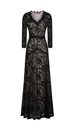 Women's V Neck Long Sleeve Lace Maxi Dress