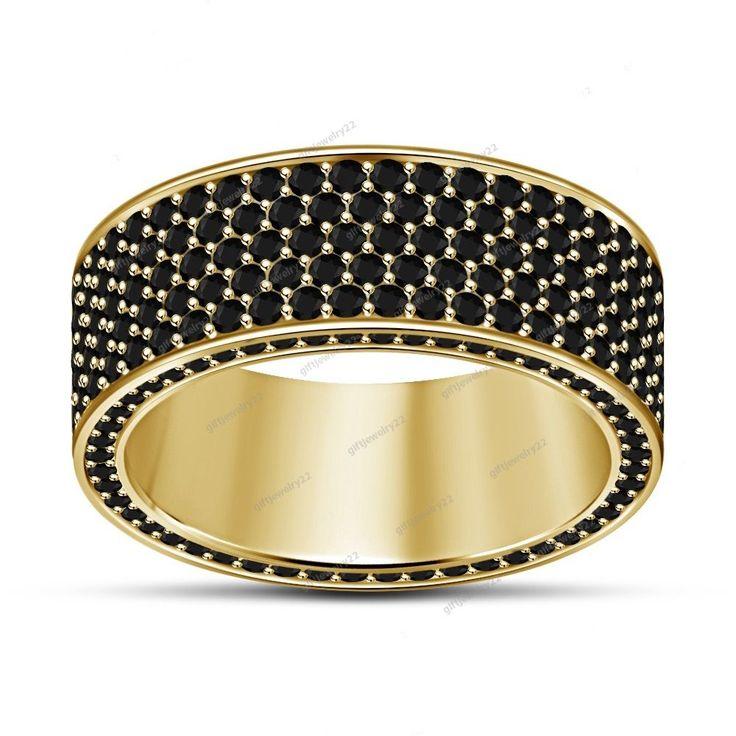 Women's 14K Yellow Gold Filled 925 Silver Round Cut Diamond Wedding Band Ring #giftjewelry22 #EngagementWeddingBand