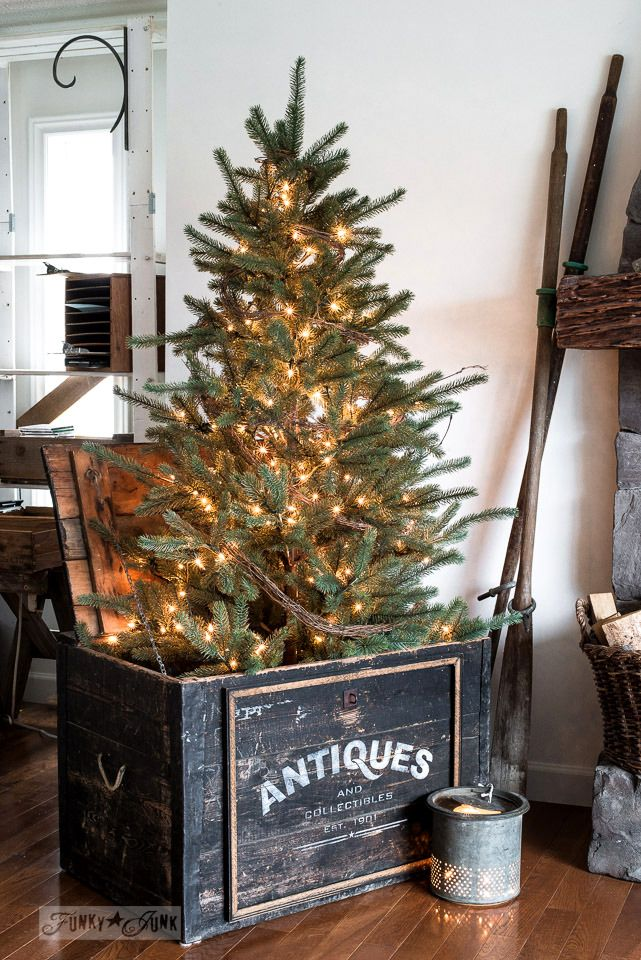 Winter tree in an antiques crate. Part of Rustic winter decorating with black, white and wood. Full tour on funkyjunkinteriors.net