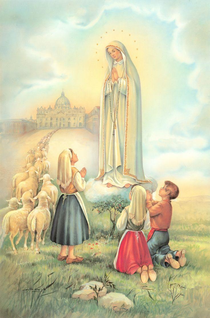 """Apariciones de la Virgen de Fátima (Mayo 13). La Santísima Virgen se apareció en Fátima, Portugal en 6 veces a 3 partorcitos Lucia, Francisco y Jacinta. """"Que no ofendan más a Dios, que ya esta muy ofendido"""". Fue la última frase de la Virgen en su última aparición el 13 de octubre de 1917. Lucia afirma que de todas las frases oídas en Fátima, esta fue la que más le impresionó."""
