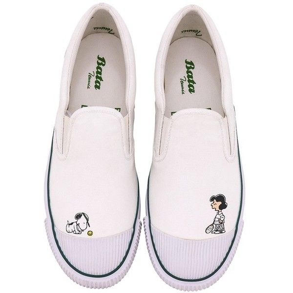 Bata x peanuts slip on lucy and snoopy white ($93) ❤ liked on Polyvore featuring shoes, tenny shoes, comic book, cap toe shoes, white tennis shoes and toe cap shoes