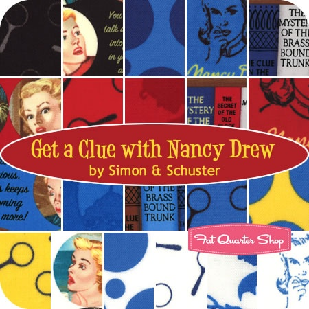 @Christine Sestero - I don't know why, and you may hate Nancy Drew - but this fabric makes me want to make a quilt for you with it! Get a Clue with Nancy Drew Layer Cake Simon & Schuster for Moda Fabrics - Fat Quarter Shop