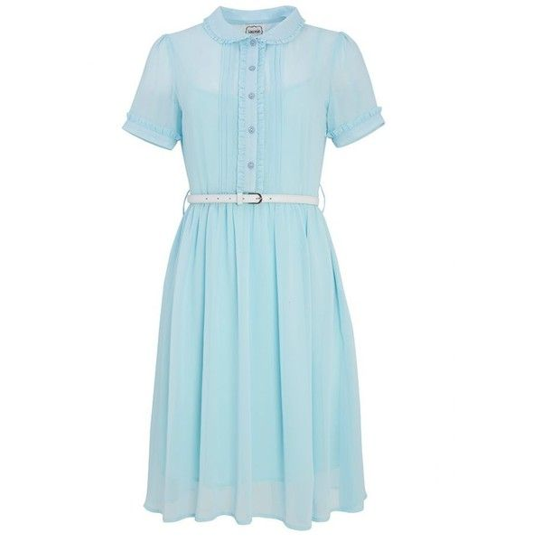 Bonnie Blue Frill Dress | Collar Shirt Dress | Joanie Clothing (£35) ❤ liked on Polyvore featuring dresses, long shirt dress, shirt dress, ruffle collar dress, ruffle shirt dress and tea party dresses