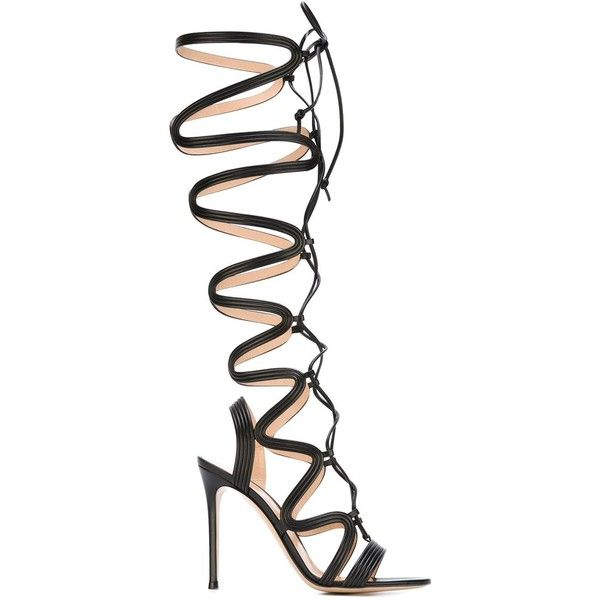 Gianvito Rossi Lace-Up Gladiator Sandals ($2,004) ❤ liked on Polyvore featuring shoes, sandals, black, black strappy stilettos, roman sandals, strappy stiletto sandals, strappy sandals and open toe sandals