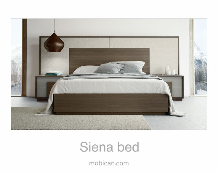 Click here to see Mobican's Siena bed   Cliquez ici pour voir le lit Siena de Mobican: http://mobican.com/siena/ #mobican #HPMKT #bed #bedroom #wood #madeincanada #upholstered #contemporary #furniture #nighttable