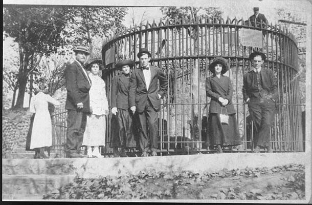 Zoo at Matter Park, Marion Indiana circa 1920. a bear killed someone and was takin out..
