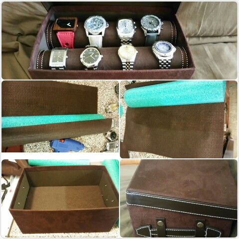 Gift watch box, I made for my son's Birthday. Purchased empty box for $3.00 suede fabric. I purchased one pool noodle at %50 off. And brown felt fabric. The box was too deep so I inserted styrafoam squares I happen to find. I covered the foam  with the felt fabric. Cut the noodle to size just a bit snug so it doesn't roll in the box. Covered the noodle with the felt fabric.  Cut circles out of the felt to cover the end of the noodles . Added brown with white stitching ribbon at end of noodle…