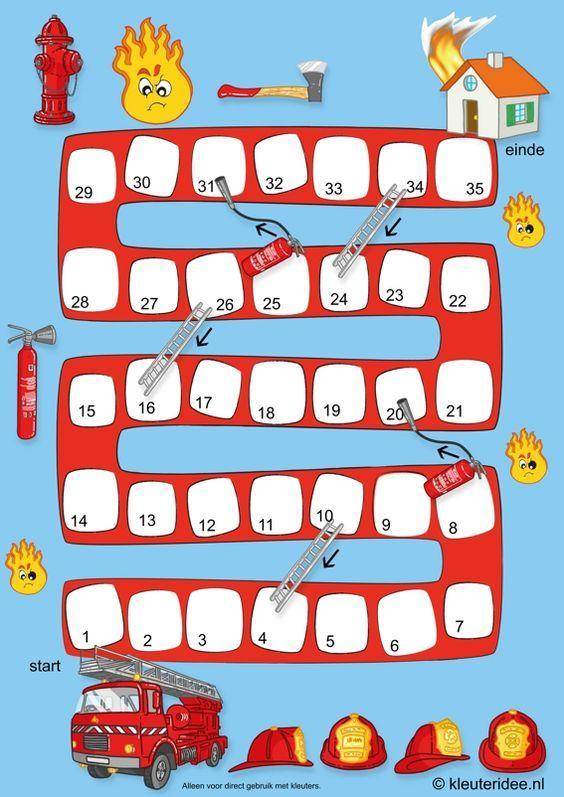 Het bruisende brandweerspel voor kleuters, spelbord, kleuteridee.nl , the sparkling fire game for preschool (Dutch and English), free printable.: