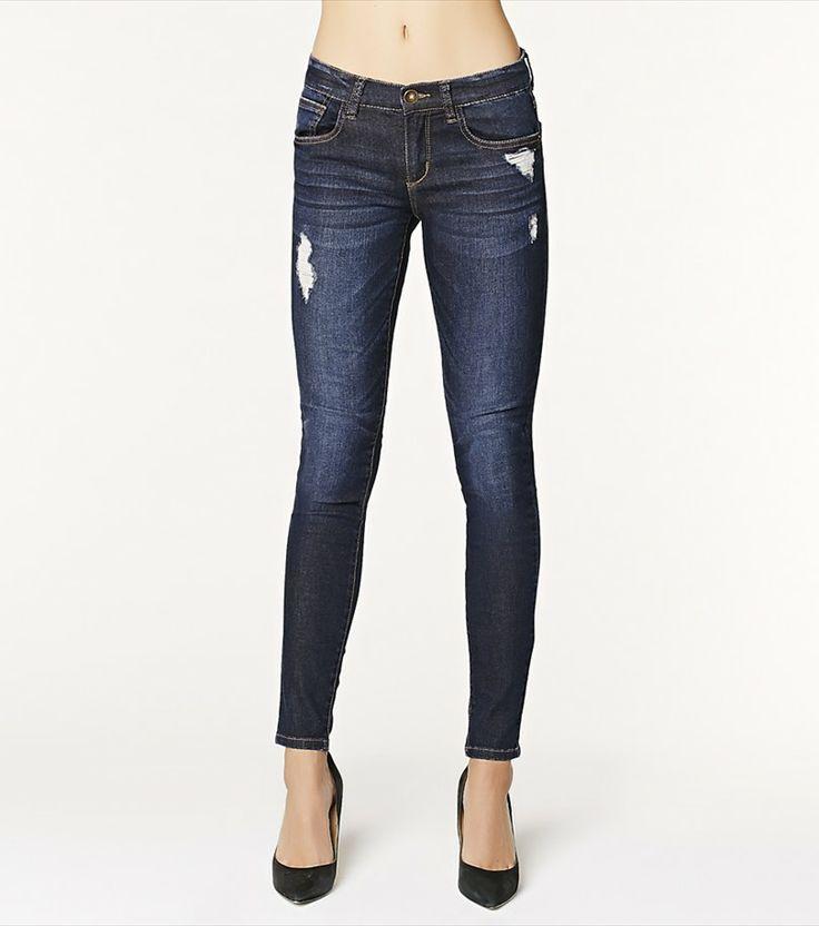 Dark Wash Distressed Skinny Jean