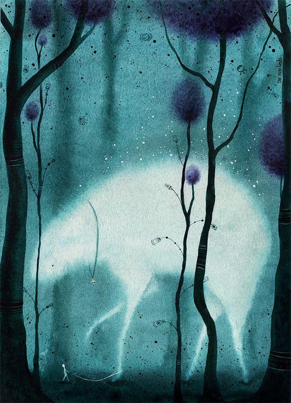 С наступлением холодов они собираются к югу. Размеренные, глубокие и удивительно тихие. Настолько тихие, что порой какой-нибудь амалун отобьется от своих и долго блуждает в лесу, беззвучно ступая мягкими лапами. Тогда кто-то из лесных отводит его к ущелью, к ожидающей стае. Люди дарят им колокольчики и погремушки, чтоб те слышали, если какой малыш снова отстанет в дороге.