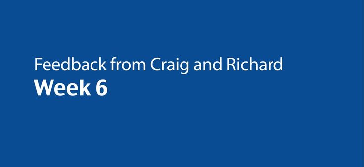 Feedback from Craig and Richard - Week 6