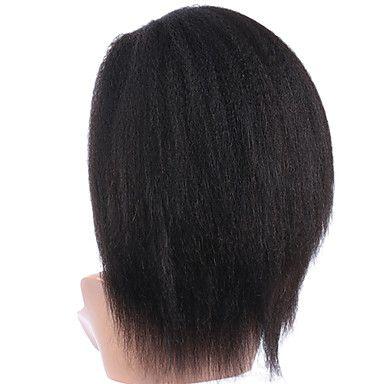 realista procurando cabelo crespo malaio reta peruca dianteira do laço do cabelo…