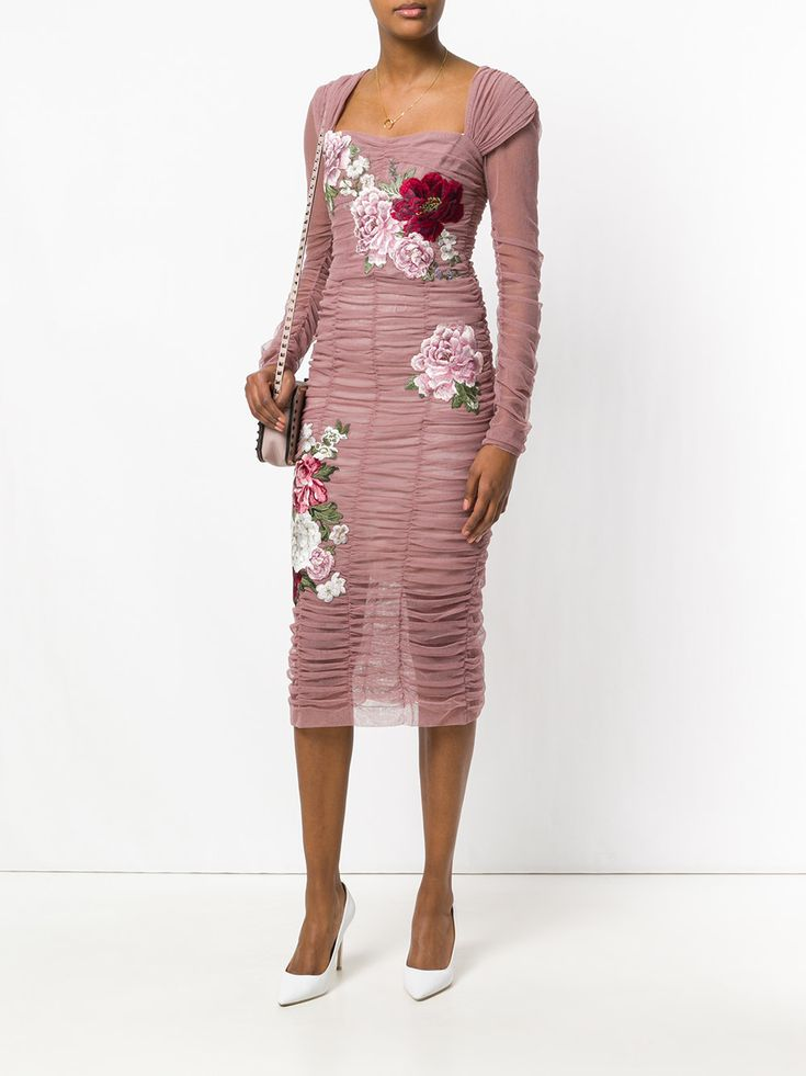 Dolce & Gabbana rose patch ruched dress