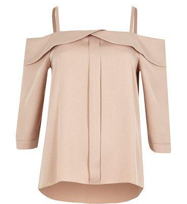 light pink foldover bardot top by River Island. Crepe fabric Foldover detail Cold shoulder straps Three-quarter sleeve