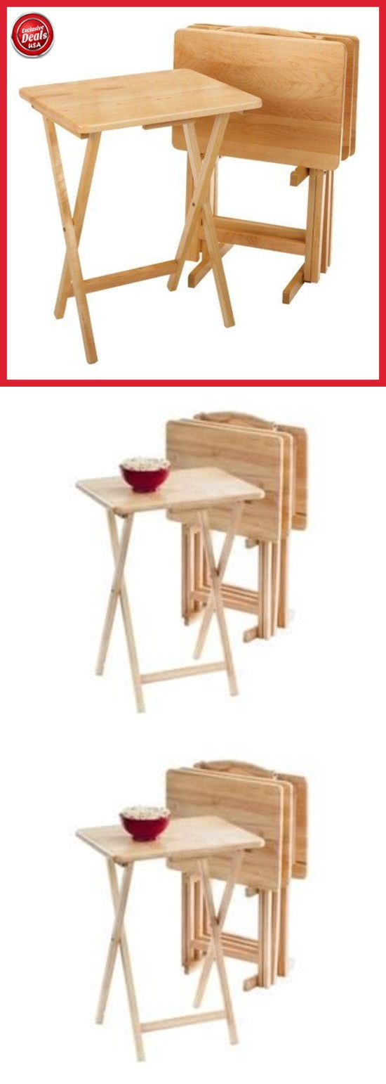Latest Trays Pc Tv Tray Table Set Wood Stand End Folding Furniture Serve  Snack Dinner With Folding Snack Tables With Stand