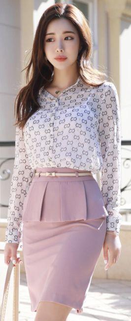 StyleOnme_Pleated Flap Detail Belted H-Line Skirt #pink #pencilskirt #elegant #feminine #koreanfashion #kstyle #kfashion #springtrend #dailylook