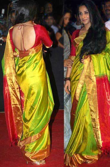 Vidya Balan Backless Blouse- See vidya balan in red backless Blouse.