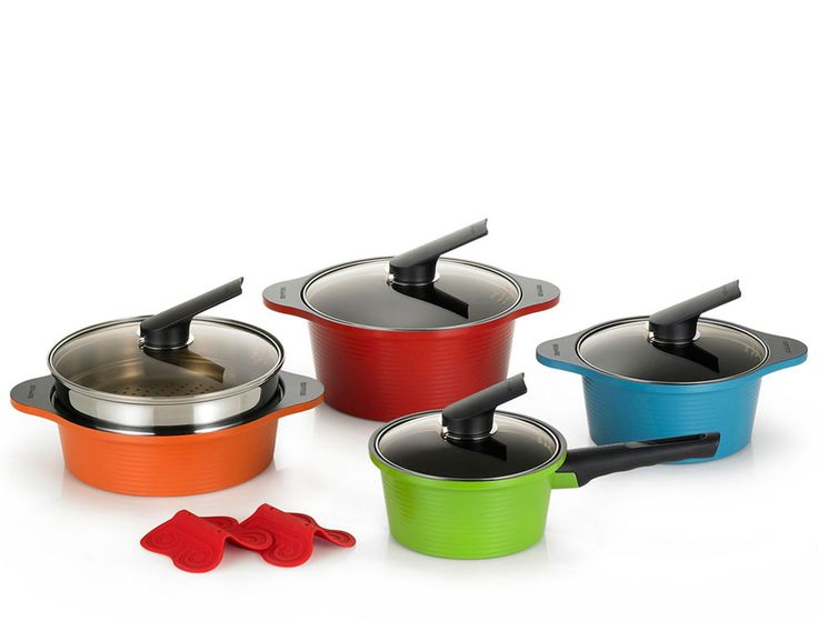 Happycall Hard Anodized Non-Stick Ceramic Pots Steamer Cookware Set 10-Piece New #Happycall