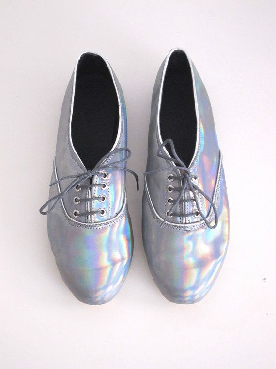 "space-grunge "" (via Holographic iridescent pony oxford shoes by  goldenponies on Etsy) """