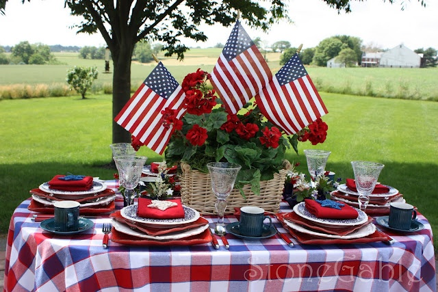 PatrioticSummer Picnic, Tables Sets, Fourth Of July, Tablescapes, Red White Blue, 4Th Of July, July 4Th, Patriots, Memories Day