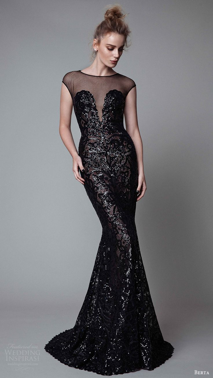 berta rtw fall 2017 (17 19) illusion cap sleeves jewel neck sheath evening dress embellished mv -- Berta Fall 2017 Ready-to-Wear Collection