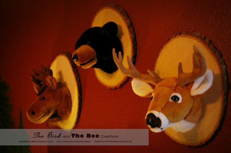 Little Cabin Boys Bedroom Decor- Animal Wall Mounts. $75.00, via Etsy.